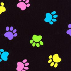 Stylist-Wear-satin-nylon-multi-clour-paws-on-black