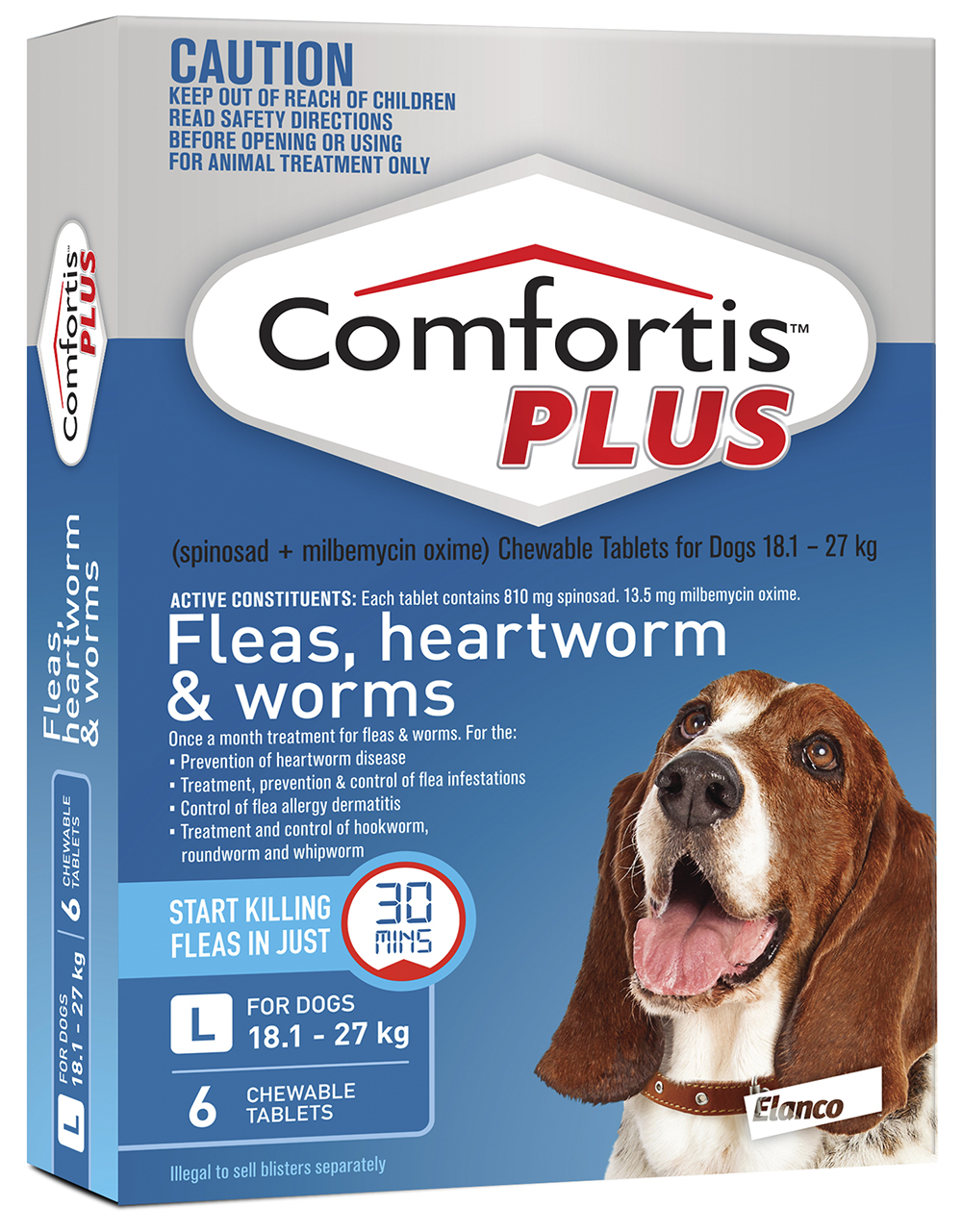 comfortis plus blue for dogs 18 1 27kg 810mg 6 pack