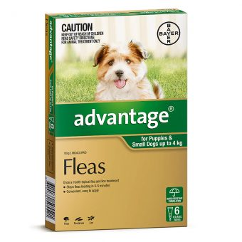 Advantage Green for Puppies & Small Dogs up to 4kg - 4 Pack