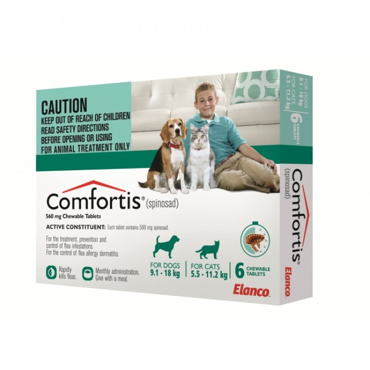 Comfortis Spinosad Green For Dogs 9 1 18kg Amp Cats 5 5 11