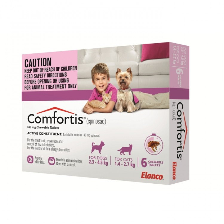Comfortis Spinosad Pink For Dogs 2 3 4 5kg Amp Cats 1 4 2
