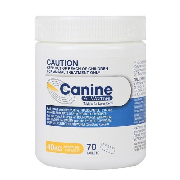 Canine All Wormer 40kg 70 Tablets Vet Net Supplies