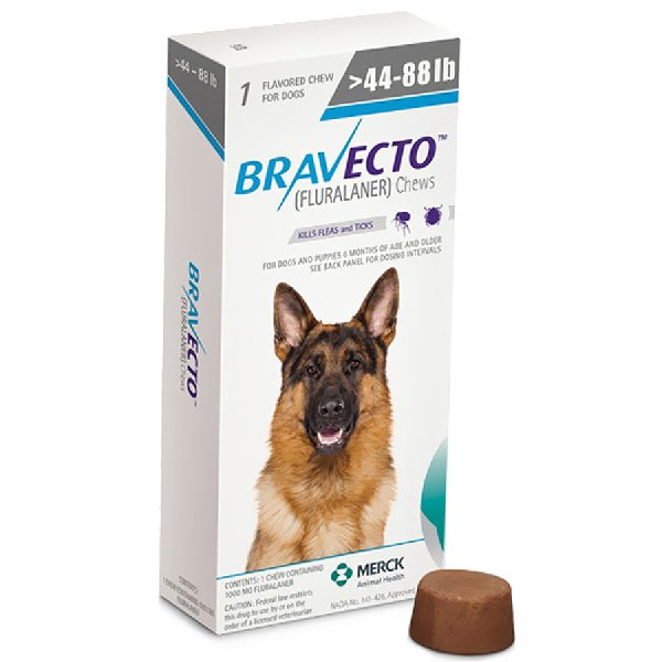 Bravecto For Large Dogs 20 40kg 1000mg 1 Chew Lasts 3