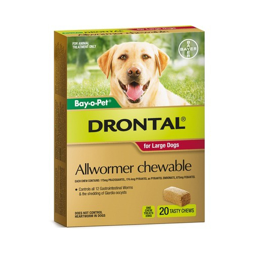 Drontal Allwormer Chewable For Large Dogs 35kg X 20 Pack