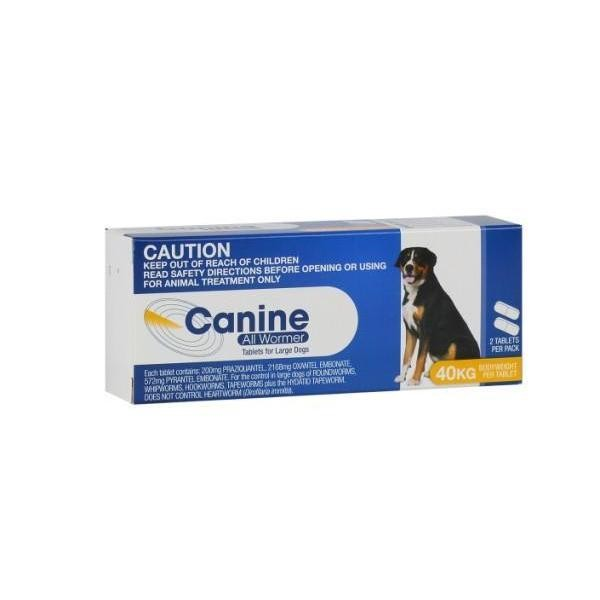 Canine All Wormer 40kg 2 Tablets Vet Net Supplies