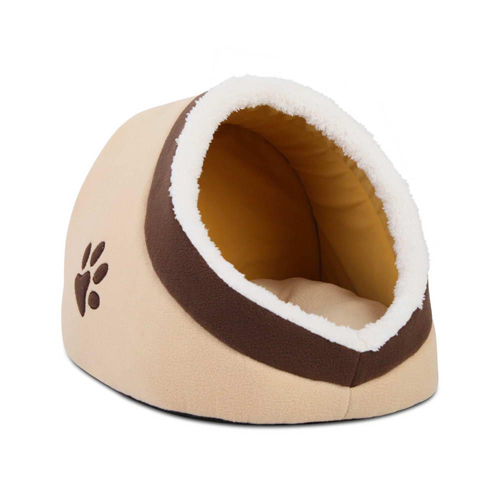 Soft Fleece Igloo Pet Bed Beige Vet Net Supplies