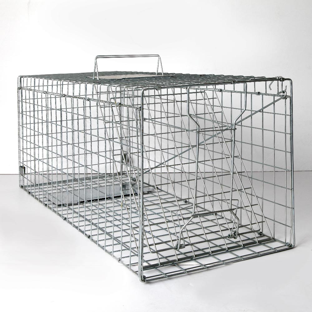 108 X 40 X 45cm Humane Animal Trap Cage Silver Vet Net